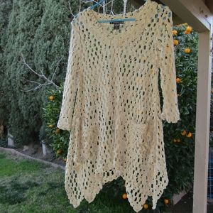 Pyramid Collection Small Crochet Tunic Top